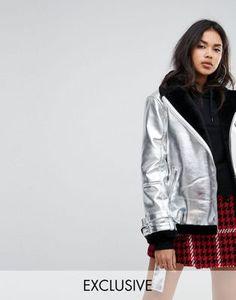 Куртка-авиатор с эффектом металлик Missguided Фестиваль Моды 8ddbcdbb7555b