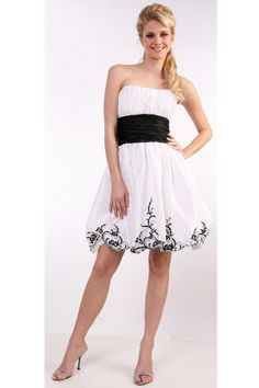 White Strapless Knee-length Graduation Zipper Up Cocktail Dress CD1689