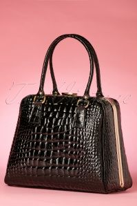VaVa Vintage Black Crocodile Handbag 01252016 014W