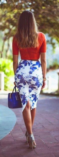 street style orange blue floral print e1441112849218