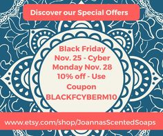 UNIQUE OFFER: a special coupon only for Black Friday / Small Business Saturday / Cyber Monday,  which gives a 10% discount to all my etsy products over 25 USD (shipping not included to the offer).  Coupon code: BLACKFCYBERM10  For the same period  I also have 3 other special offers, which can be found on my etsy shop