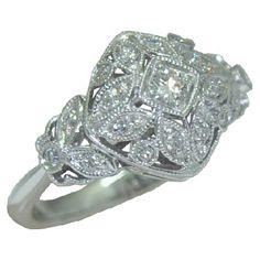 0.35 cttw. Vintage Style Diamond Ring https://www.goldinart.com/shop/diamond-rings/0-35-cttw-vintage-style-diamond-ring #DiamondRing