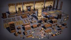Modelling Buildings with Interior (Question) - polycount Game Design, Game Level Design, Prop Design, Set Design, Game Environment, Environment Concept Art, Environment Design, Blender 3d, Low Poly