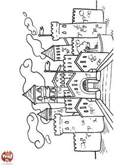 Castle color page Coloring Book Pages, Coloring Sheets, Coloring Pages For Kids, Free Coloring, Child Draw, Chateau Moyen Age, Magnolia Stamps, Magnolias, Digi Stamps