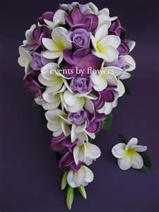 REAL TOUCH PURPLE ROSE PLUMERIA FRANGIPANI WEDDING BOUQUET BRIDE ...