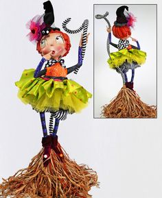 Tallulah Witch Figurine. Halloween Decorations from Katherine's Collection at TheHolidayBarn.com