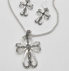 CROSS necklace earrings set Victorian style ornate design