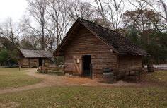 """Replica of the historic log cabin kitchen on the Sam Houston Memorial Museum grounds. The kitchen would have been used mainly by Eliza Revel, Margaret Houston's slave and companion. Eliza was called """"Aunt Eliza"""" by the Houston children and lived with them for many years even after Margaret died. The original kitchen in this location burned down. See some of Eliza's recipes here: http://samhoustonmemorialmuseum.com/fun-stuff/recipes/"""