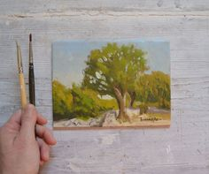 I painted this 'plein air' oil painting from one early August morning at the Hermitage Santissima Trinità, walking distance just below the town of Porchiano del Monte in Umbria, Italy.   This pai...