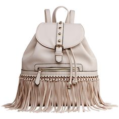 Mkf Collection Monica Elegant  Fringed  Backpack ($32) ❤ liked on Polyvore featuring bags, backpacks, tan, faux leather bag, vegan backpack, tan bag, faux leather backpack and fringe backpack