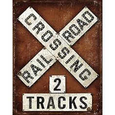 Railroad RR Crossing 2 Tracks Vintage Retro Tin Metal Sign 13 x 842988106950