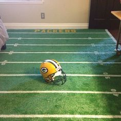 DIY football rug for my son's sports themed room...Go Packers!
