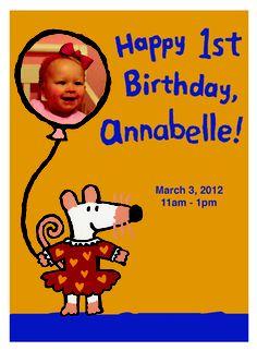 Maisy Invites based on Happy Birthday, Maisy Book.