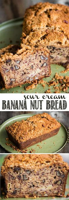 Sour Cream Banana Nut Bread is a super moist banana bread recipe with a crunchy sweet topping. Put those ripe bananas on your counter to good use and make a batch of this not-so-healthy banana nut bread. Whether you enjoy it for breakfast with a hot cup of coffee or as a late afternoon snack, you will love it! #bananabread #banananutbread #sourcreambananabread