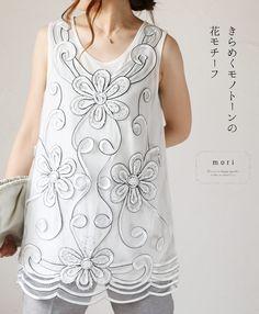 【楽天市場】【再入荷♪10月30日12時&22時より】(ホワイト)「mori」きらめくモノトーンの花モチーフノースリーブトップス:cawaii