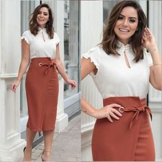 Swans Style is the top online fashion store for women. Shop sexy club dresses, jeans, shoes, bodysuits, skirts and more. Work Fashion, Modest Fashion, Fashion Dresses, Skirt Outfits, Dress Skirt, Dress Up, Moda Instagram, Professional Attire, Office Outfits