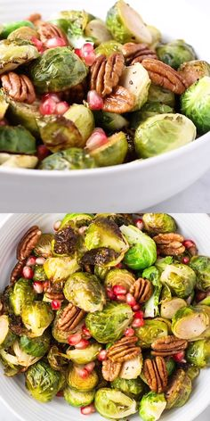 This easy Roasted Brussels Sprouts recipe is perfect for your Thanksgiving table! A light lemony dressing makes the flavors pop, and toasted pecans and pomegranate arils make the dish feel really special. This crispy roasted Brussels sprouts are sure to d Thanksgiving Side Dishes, Thanksgiving Recipes, Gluten Free Recipes Videos, Recipe Videos, Vegetarian Recipes, Healthy Recipes, Sprouts Recipe, Healthy Fruits, Toasted Pecans