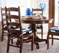 Pottery Barn Tivoli Fixed Pedestal Dining Table + 4 Wynn Side Chairs 4 Chair Dining Table, Dinning Chairs, Pedestal Dining Table, Dining Chair Cushions, Cafe Chairs, Extendable Dining Table, Dinning Set, Pottery Barn, Accent Chairs For Sale