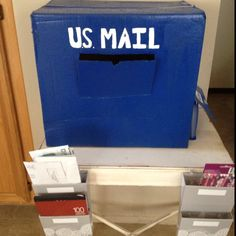 Kids post office made by mommy and Kailyn. Cardboard mailbox and everything kids need to mail a letter. Paper, envelopes, pencils, and star stickers to use at stamps. Reduce Reuse Recycle, Star Stickers, Paper Envelopes, Dramatic Play, Play Ideas, Baby Games, Babysitting, Post Office, Mailbox