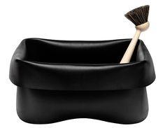 A rubber wash basin and a wooden dish brush, Normann Copenhagen.