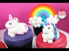 Unicorn Cupcakes! Make Unicorns & Rainbows for Cakes & Cupcakes -Learn how to make these delicious treats, and heaps more at Mycupcakeaddiction!