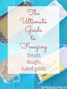 You've got to see this ultimate guide to freezing bread, dough and other baked goods. Everything you could want is covered: cookies, brownies, pizza dough, biscuits. It takes the guess work out of freezing bread! Freezing Bread Dough, Frozen Bread Dough, Freezer Cooking, Freezer Meals, Easy Cooking, Freezer Recipes, Healthy Cooking, Baking Tips, Bread Baking