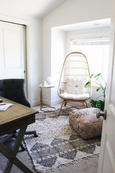 Small Space Home Office Makeover Come see this small space home office makeover! Furniture by World Market. - Small Space Home Office Makeover - Boho Rattan Chair Home Office Design, Home Office Decor, Home Decor Bedroom, Office Ideas, Bedroom Ideas, Office Inspo, Office Designs, Family Room Decorating, Decorating Your Home