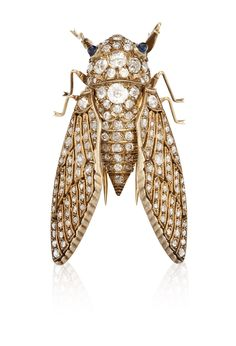A DIAMOND CICADA BROOCH