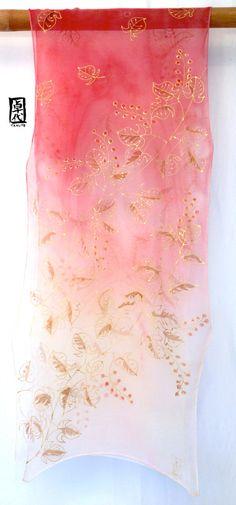 Hand Painted Silk Scarf Silk Chiffon Scarf by SilkScarvesTakuyo