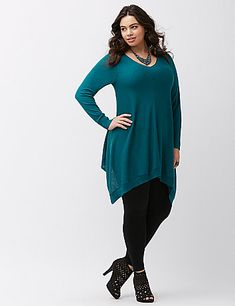 The one your leggings have waited for all year, our shark bite tunic is here and perfect for Fall! Luxe, lightweight Jersey is an easy choice for those fickle-weather days with a soft feel and lovely drape. Finished with a sexy V-neck, and ribbed trim at the long sleeves and hem. lanebryant.com