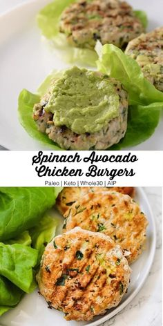 These paleo spinach avocado chicken burgers are the ultimate healthy burger. Theyre paleo keto and AIP! These paleo spinach avocado chicken burgers are the ultimate healthy burger. Theyre paleo keto and AIP! Healthy Dinner Recipes For Weight Loss, Healthy Meal Prep, Healthy Fats, Recipes Dinner, Eating Healthy, Healthy Nutrition, Healthy Things To Eat, Healthy Lunch Meals, Clean Eating Lunches