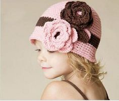 hand-knitted crochet flower button hat