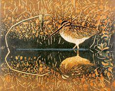 Wading Snipe - woodblock print 2008 - Andrea Rich, U.S.A.