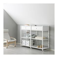 IKEA ELVARLI 2 sections White 165 x 55 x 126 cm You can always adapt or complete this open storage solution as needed. Maybe the combination we've suggested is perfect for you, or you can easily create your own. Ikea Under Stairs, Storage Shelves, Storage Spaces, Elvarli Ikea, Hacks Ikea, Bamboo Shelf, Frame Store, Painted Drawers, Diy Interior