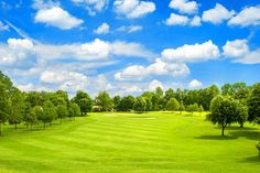 Green field and blue cloudy sky. European landscape For more travel locations look my collection TRAVEL Beautiful Nature Pictures, Nature Photos, Farm Gardens, Outdoor Gardens, Public Golf Courses, Landscaping Images, Travel Reviews, Green Fields, Around The Worlds