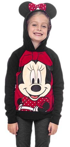 Girls Minnie Mouse Pullover Hoodie Sweatshirt with Ears