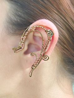 Copper and Cogs Steampunk Wire Ear Wrap by MelsMakeBelieve on Etsy, $32.65