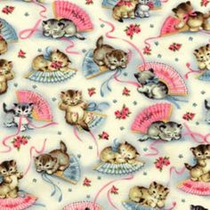 Items similar to 2 yards Smitten Kittens Cotton Fabric Michael Miller Pink Fan Butterfly repro on Etsy Look Vintage, Vintage Cat, Vintage Prints, Vintage Images, Cat Fabric, Retro Fabric, Vintage Wrapping Paper, Vintage Paper, Wrapping Papers