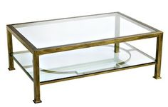 Table basse en fer forgé et verre