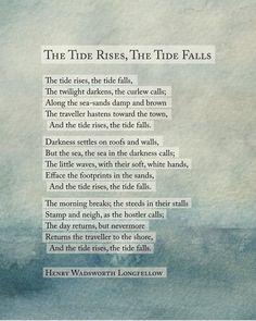 Sea poetry art poem Henry Wadsworth Longfellow The Tide | Etsy