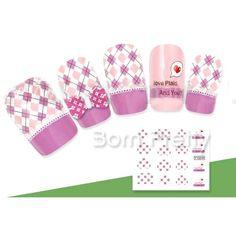Cute plaid nail decals @BornPrettyStore, 1 Sheet Delicate Colored Plaid Cross Stripe P... at USD $2.86. http://www.bornprettystore.com/-p-9631.html