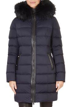'Calla' Navy Down Puffer Coat With Fur Trim Hood