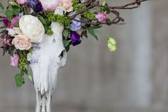 Bridal bouquet gothic skull design made from English flowers ...