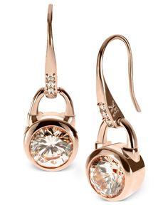 Michael Kors Earrings, Rose Gold-Tone Silk Padlock Drop Earrings - Michael Kors -