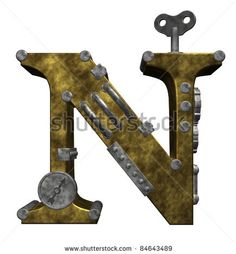stock photo : steampunk letter n on white background - 3d illustration