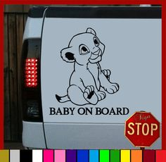 Disney Lion King Inspired Baby on Board Sticker Decal by SignStop, $3.99-- this would have been perfect for baby cody.#theolddays