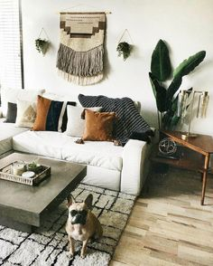 This cozy living room calls for a good book, a cup of coffee and plenty of snuggles from that little guy. photo by This cozy living room calls for a good book, a cup of coffee and plenty of snuggles from that little guy. photo by Boho Living Room, Cozy Living Rooms, Living Room Interior, Living Room Decor, Bedroom Decor, Wall Decor, Bedroom Lighting, Bedroom Ideas, Wall Art