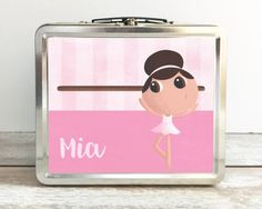 With 5 different look-alike choices, 2 motif (pink or purple) options and first name personalization, this classic style tin lunch box takes individualization to a whole new level.  This is much more than just your standard issue lunch box, in fact, it's a work of art. Printed on this item are 3 pieces originally hand painted in acrylic by Luisa of Lage Art. #lageart #ballerina #lunchbox #forgirls #personalized #birthdaygift #birthdayparty #originalart #latinamerican