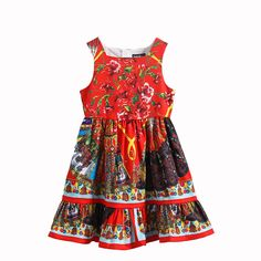 14affd6895a4 Click to Buy    New Summer Children Dress Girls Cotton Flowers Print for