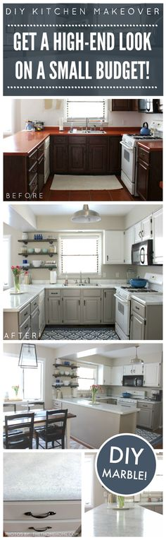 DIY Kitchen Makeover on a Budget. Before and After. Giani Granite Countertop Paint kits transform existing counters to the look of natural stone! www.gianigranite.com Kitchen Design by thethomehome.com